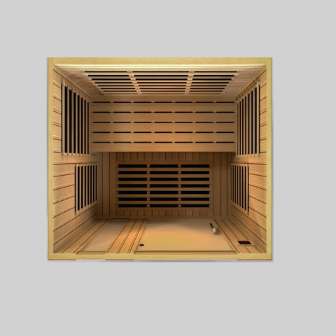 Golden Designs Dynamic Lugano Low EMF Far 3-person Infrared Sauna DYN-6336-01 - SaunaTown.com