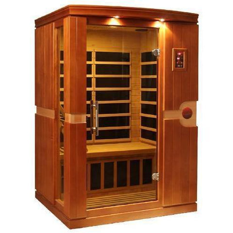 Golden Designs Dynamic Venice Low EMF Far-Infrared 2-Person Sauna DYN-6210-01, Natural Hemlock - SaunaTown.com
