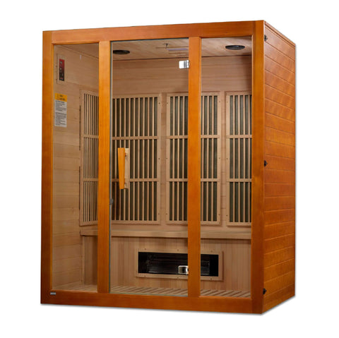 Golden Designs Maxxus Alpine Dual Technology 3-Person Low EMF FAR Infrared Sauna Canadian Hemlock MX-J306-02S - SaunaTown.com
