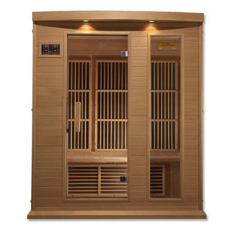 Golden Designs Maxxus Low EMF Far-Infrared 3-Person Sauna MX-K306-01, Canadian Hemlock - SaunaTown.com
