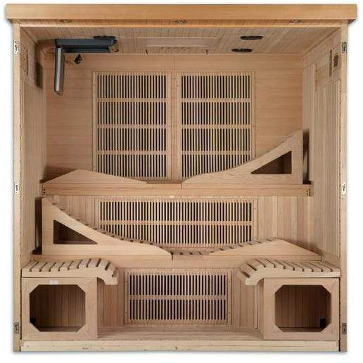 Golden Designs Monaco Near-Zero EMF Far-Infrared 6-Person Sauna GDI-6996-01, Natural Hemlock - SaunaTown.com