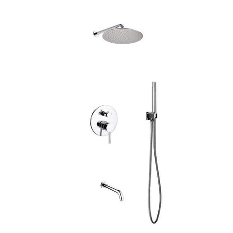 KubeBath Aqua Rondo Shower Set W/ 12″ Rain Shower, Handheld And Tub Filler Shower Equipment R-WR12TFHH3V - SaunaTown.com