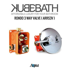 KubeBath Aqua Rondo Shower Set W/ Ceiling Mount 12″ Rain Shower, Handheld And Tub Filler Shower Equipment R-CR12HHTF3V