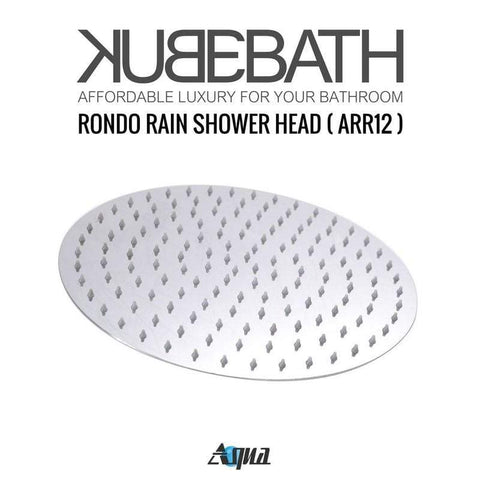 KubeBath Aqua Rondo Shower Set W/ Ceiling Mount 12″ Rain Shower, Handheld And Tub Filler Shower Equipment R-CR12HHTF3V - SaunaTown.com