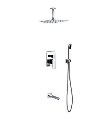 KubeBath Aqua Piazza Shower Set with Handheld and Tub Filler Shower Equipment CR300HHTF3V - SaunaTown.com