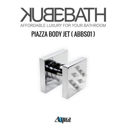 KubeBath Aqua Piazza Brass Shower Set w/ 4 Body Jets & Handheld Shower Equipment WR2004JHH3V - SaunaTown.com