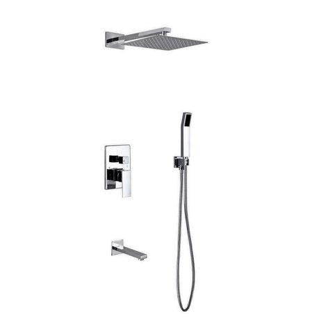 "KubeBath Aqua Piazza Shower Set w/ 12"" Handheld & Tub FillerShower Equipment WR300TFHH3V - SaunaTown.com"