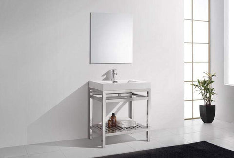 "KubeBath Cisco 3"" Stainless Steel Console With Acrylic  Overflow and Sink Vanity AC30 - SaunaTown.com"