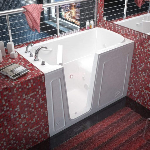 Meditub Walk-In Left Drain Whirlpool Jetted Bathtub 3260LWH - SaunaTown.com