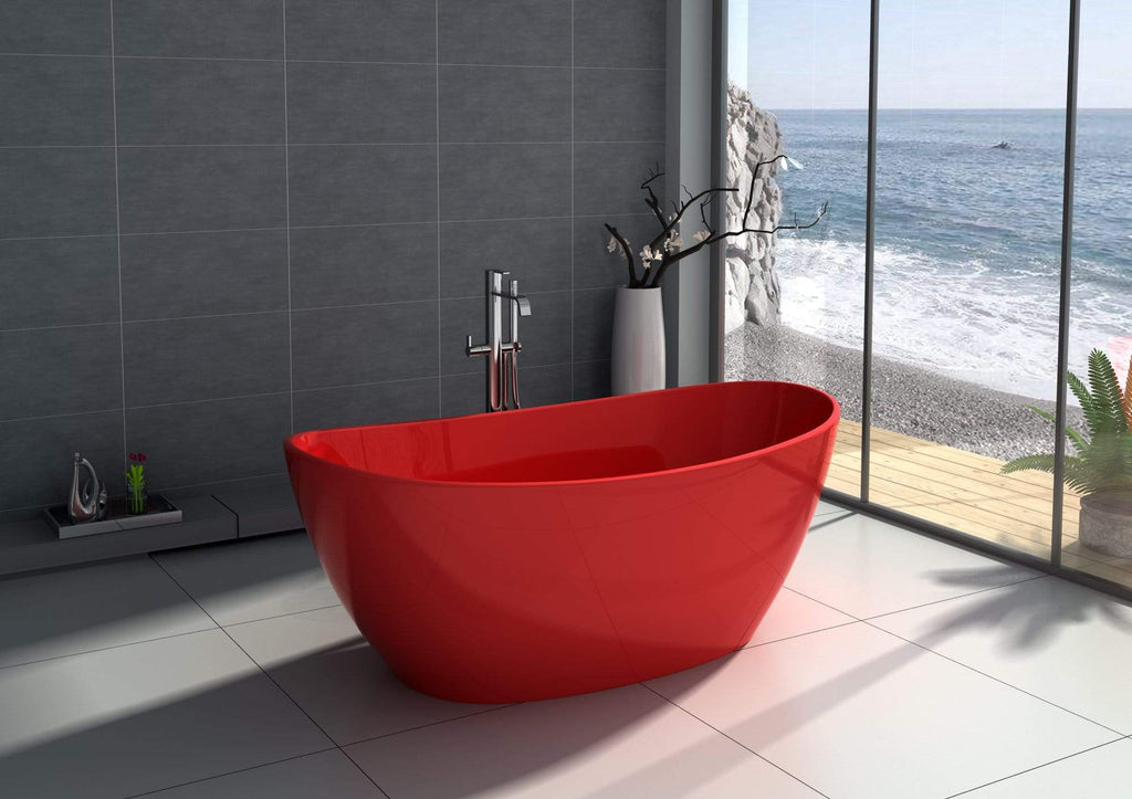 "Legion Furniture 64.2"" Red Matt Solid Surface Tub - No Faucet Step-In Bathtubs WJ8611-R - SaunaTown.com"