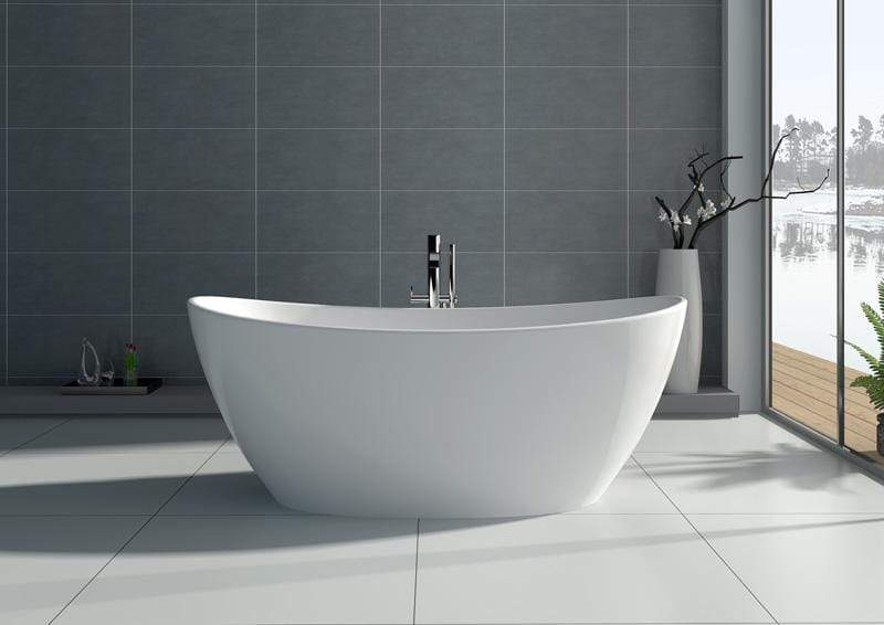 "Legion Furniture 64.2"" White Matt Solid Surface Tub - No Faucet Step-In Bathtubs WJ8611-W - SaunaTown.com"