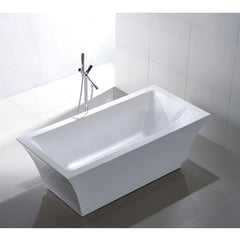 "Legion Furniture 67"" Double Ended White Freestanding Tub Step-In Bathtubs WE6817 - SaunaTown.com"