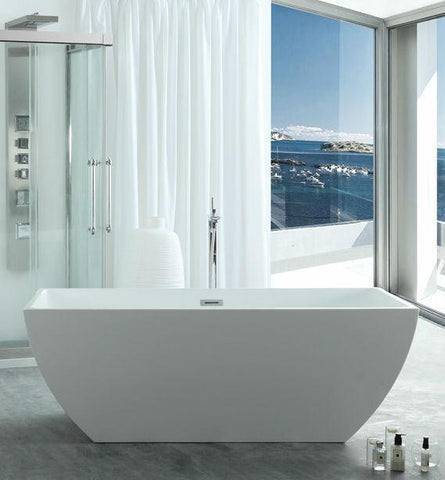 "Legion Furniture 67"" White Acrylic Tub - No Faucet Step-In Bathtubs WE6821 - SaunaTown.com"