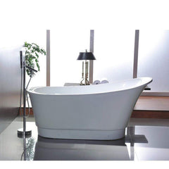 "Legion Furniture 67"" White Freestanding Slipper Tub Step-In Bathtubs WE6803 - SaunaTown.com"