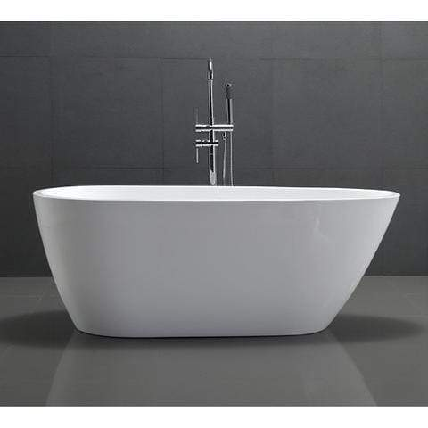 "Legion Furniture 68"" White Freestanding Acrylic Egg Shaped Tub Step-In Bathtubs WE6515 - SaunaTown.com"