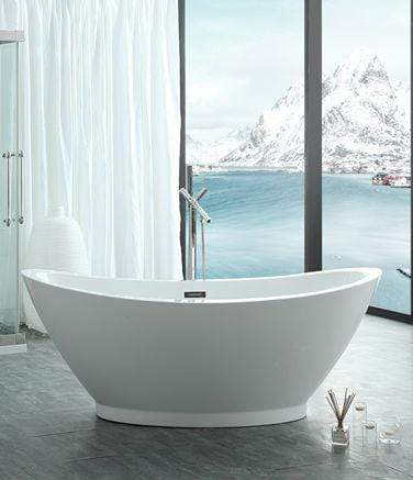 "Legion Furniture 69"" White Acrylic Tub - No Faucet Step-In Bathtubs WE6845 - SaunaTown.com"