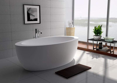 "Legion Furniture 74.8"" White Matt Solid Surface Tub - No Faucet Step-In Bathtubs WJ8615-W - SaunaTown.com"