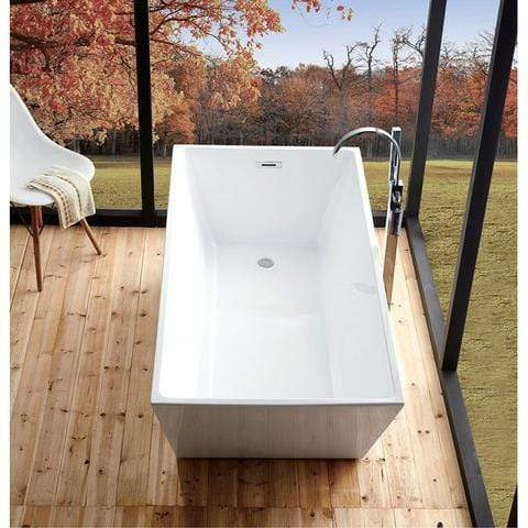 "Legion Furniture Freestanding Bathtub - White Acrylic 67"" Step-In Bathtubs WE6844 - SaunaTown.com"