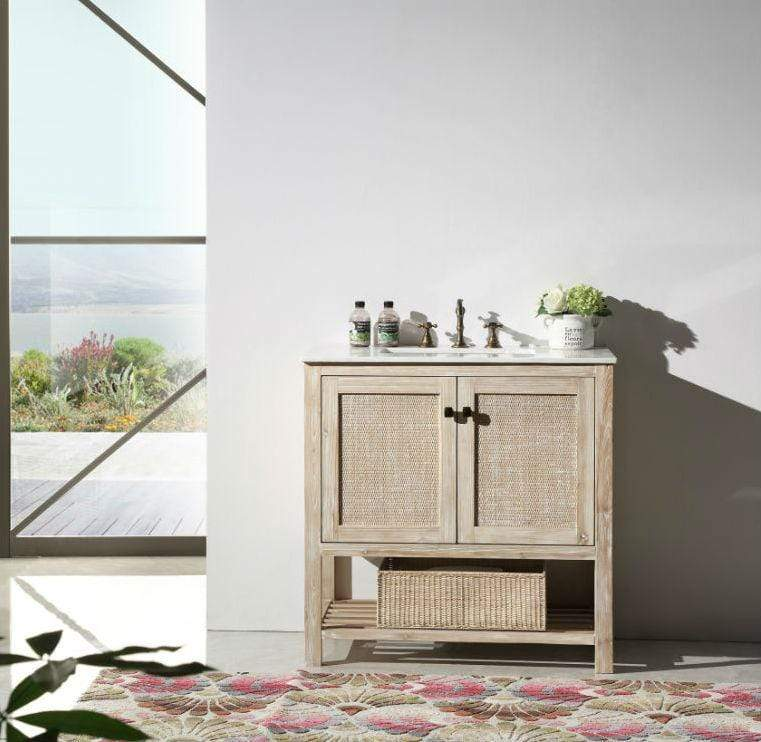 "Legion Furniture 36"" Solid Wood Sink Vanity With Marble Top-No Faucet Bathroom Vanities WH5136 - SaunaTown.com"
