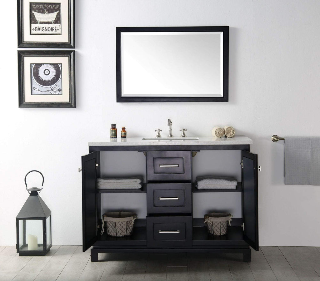 "Legion Furniture 48"" Wood Sink Vanity With Quartz Top-no Faucet Bathroom Vanities WH7448-E - SaunaTown.com"