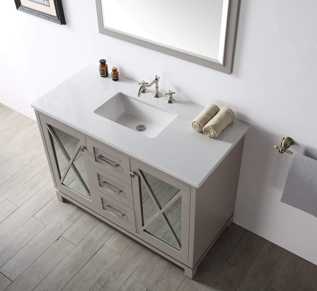 "Legion Furniture 48"" Wood Sink Vanity With Quartz Top-no Faucet Bathroom Vanities WH7448-WG - SaunaTown.com"