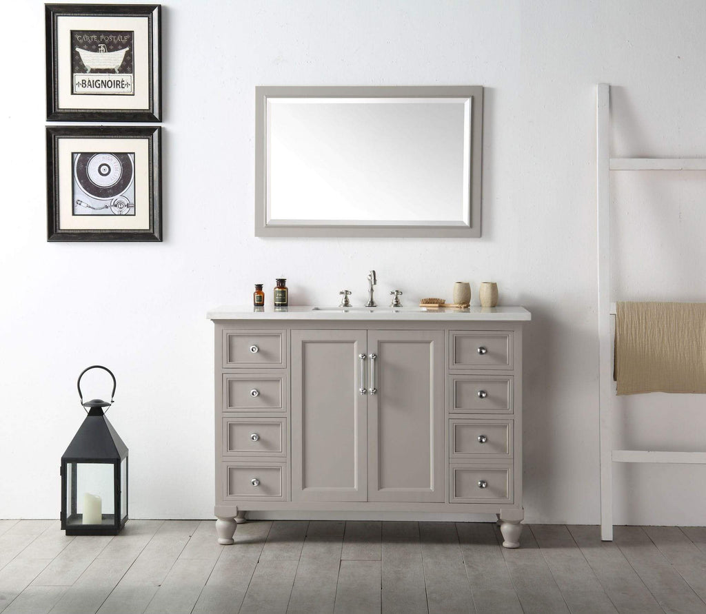 "Legion Furniture 48"" Wood Sink Vanity With Quartz Top-no Faucet Bathroom Vanities WH7548-WG - SaunaTown.com"