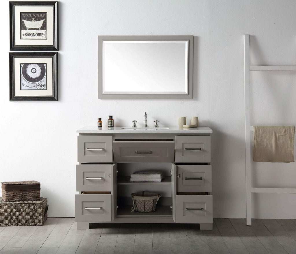 "Legion Furniture 48"" Wood Sink Vanity With Quartz Top-no Faucet Bathroom Vanities WH7648-WG - SaunaTown.com"