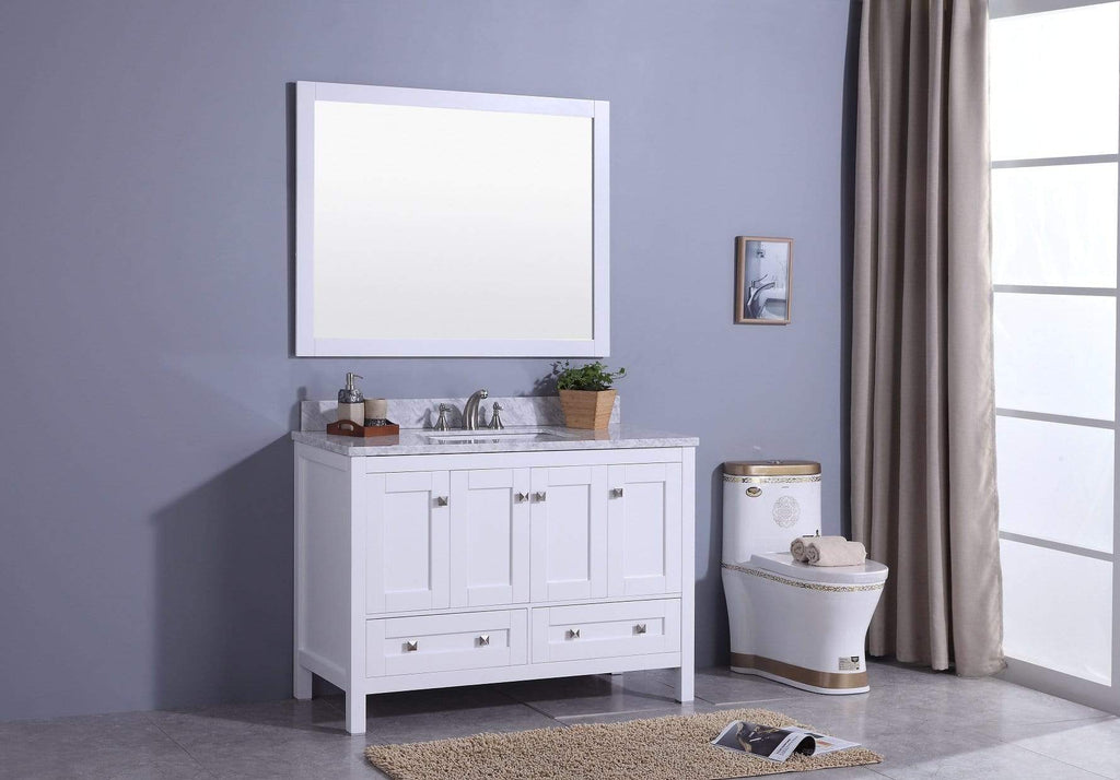 Legion Furniture Sink Vanity with Mirror, Without Faucet Bathroom Vanities WT7348-W - SaunaTown.com