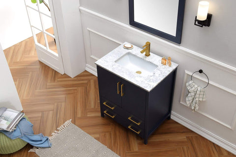 "Legion Furniture 30"" Solid Wood Sink Vanity With Mirror-No Faucet Bathroom Vanities WA7930-B - SaunaTown.com"