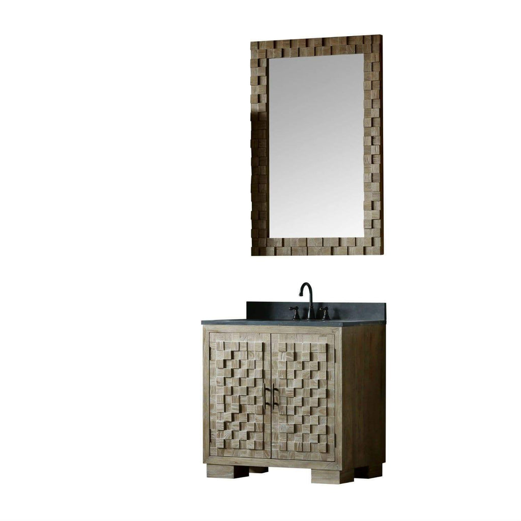 "Legion Furniture 36"" Solid Elm Sink Vanity With Faucet And 31.5"" Rectangle Mirror Bathroom Vanities WN7636 + WN7631-M - SaunaTown.com"