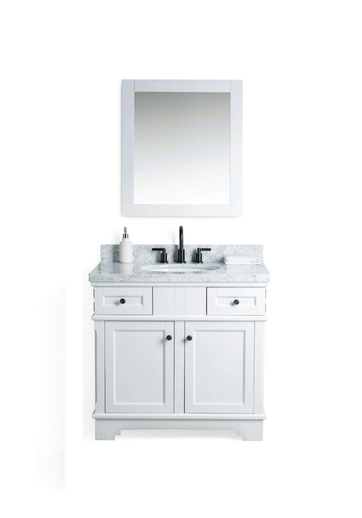 "Legion Furniture 36"" Solid Wood Sink Vanity With Mirror And Faucet Bathroom Vanities WS2036-W - SaunaTown.com"