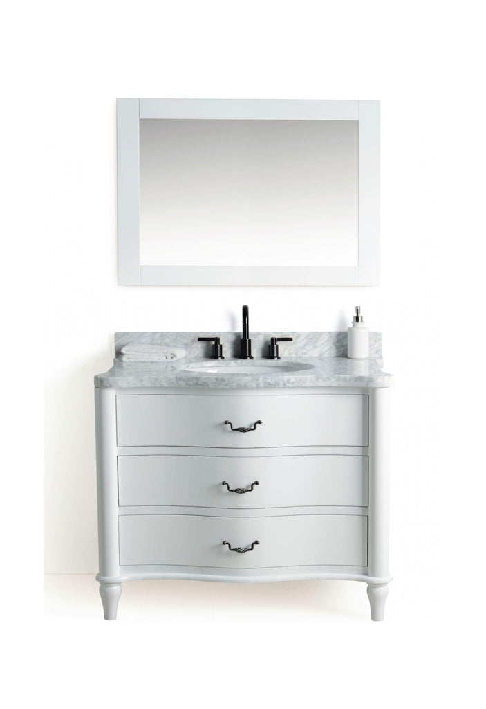 "Legion Furniture 36"" Solid Wood Sink Vanity With Mirror And Faucet Bathroom Vanities WS2436-W - SaunaTown.com"