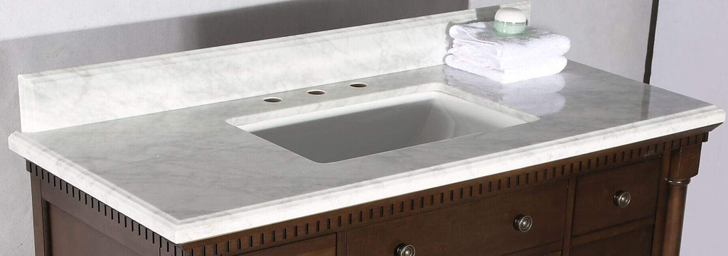 "Legion Furniture 48"" Antique Coffee Sink Vanity With Carrara White Top And Matching Backsplash Without Faucet Bathroom Vanities WLF6036-48"" - SaunaTown.com"