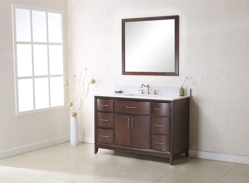 "Legion Furniture 48"" Antique Coffee Sink Vanity With Quartz Top, No Faucet Bathroom Vanities WLF7030-48 - SaunaTown.com"