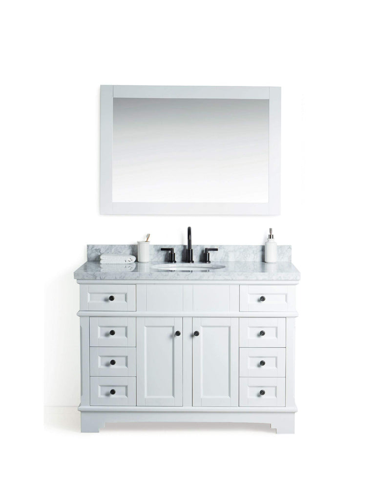 "Legion Furniture 48"" Solid Wood Sink Vanity With Mirror And Faucet Bathroom Vanities WS2048-W - SaunaTown.com"