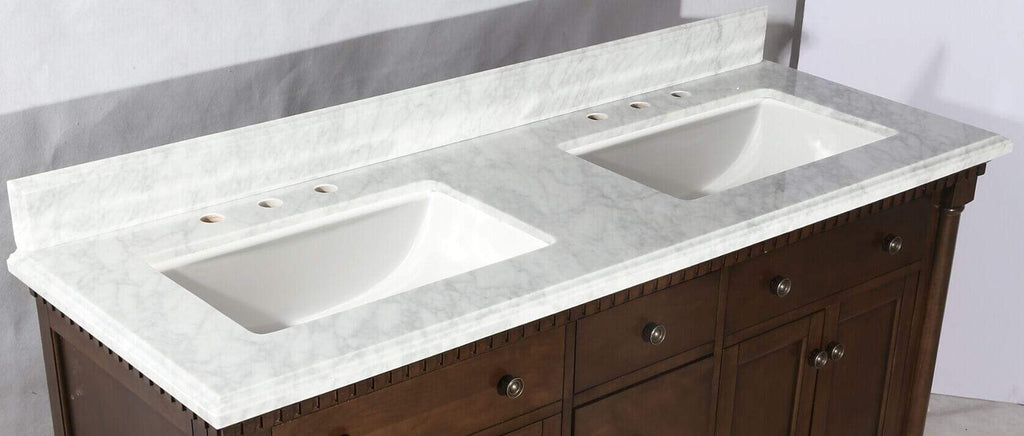 "Legion Furniture 60"" Antique Coffee Sink Vanity With Carrara White Top And Matching Backsplash Without Faucet Bathroom Vanities WLF6036-60"" - SaunaTown.com"