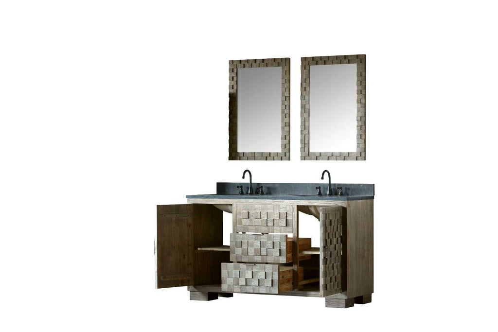 "Legion Furniture 60"" Solid Elm Sink Vanity With Faucet And 2 Of 24"" Mirror Bathroom Vanities WN7660 + WN7624-M - SaunaTown.com"