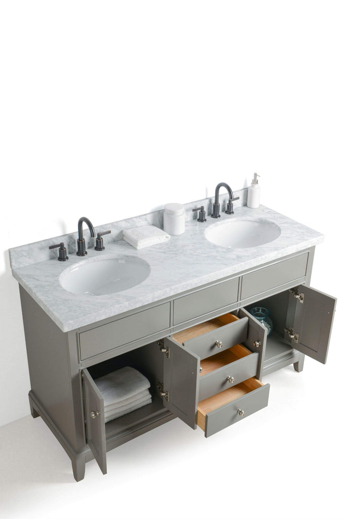 "Legion Furniture 60"" Solid Wood Sink Vanity With Mirror And Faucet Bathroom Vanities WS2360-G - SaunaTown.com"