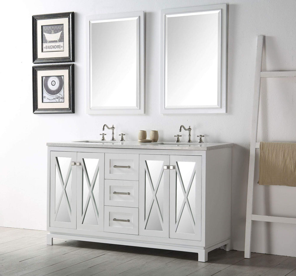 "Legion Furniture 60"" Wood Sink Vanity With Quartz Top-no Faucet Bathroom Vanities WH7460-W - SaunaTown.com"