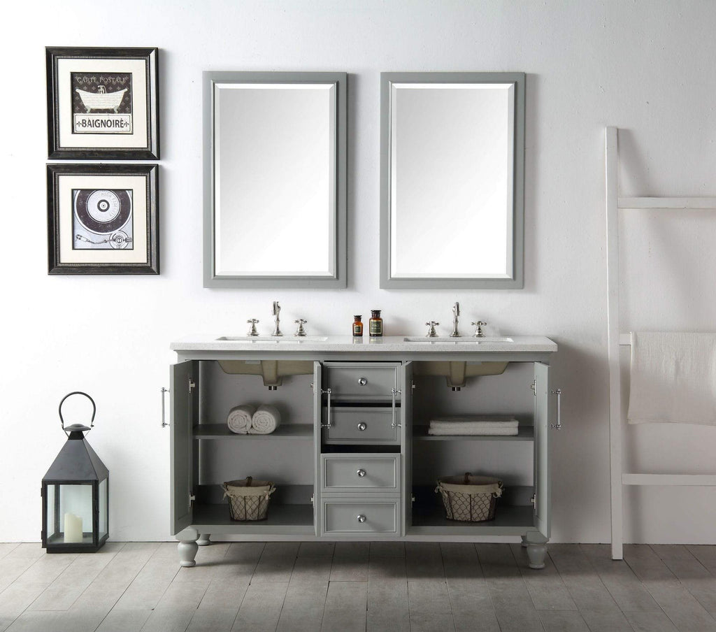 "Legion Furniture 60"" Wood Sink Vanity With Quartz Top-no Faucet Bathroom Vanities WH7560-CG - SaunaTown.com"