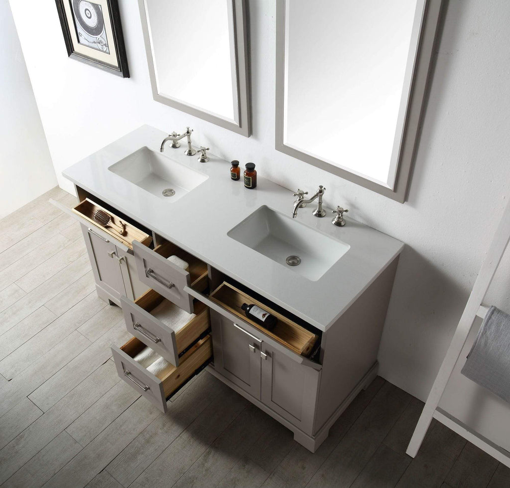"Legion Furniture 60"" Wood Sink Vanity With Quartz Top-no Faucet Bathroom Vanities WH7660-WG - SaunaTown.com"