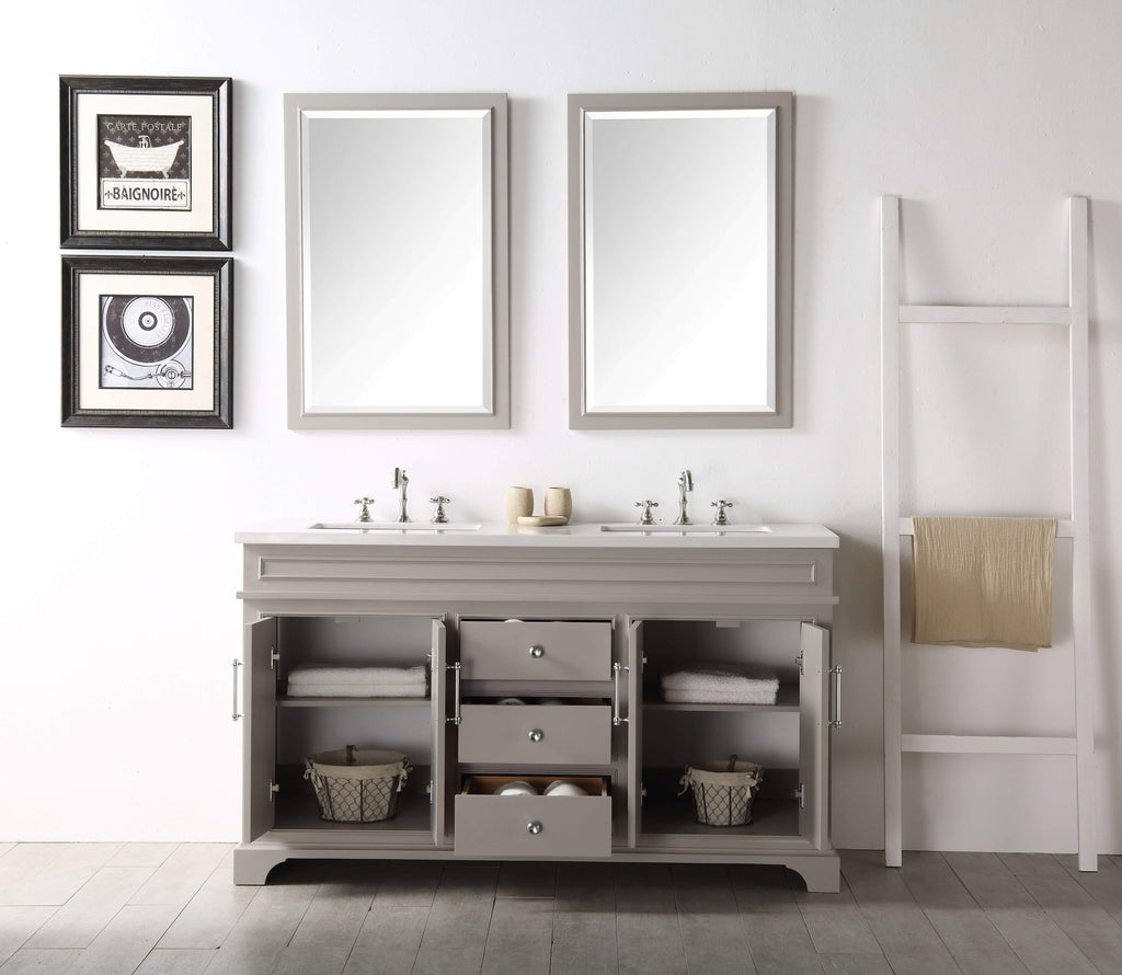 "Legion Furniture 60"" Wood Sink Vanity With Quartz Top-no Faucet Bathroom Vanities WH7760-WG - SaunaTown.com"