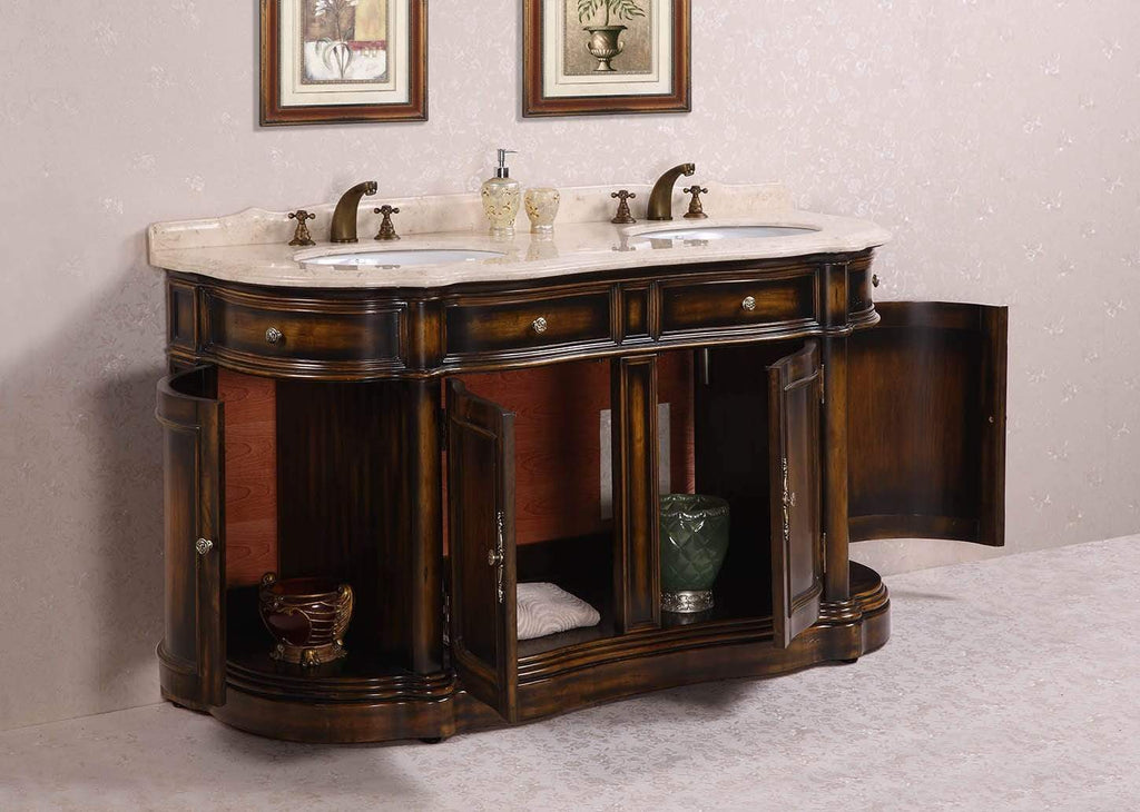 "Legion Furniture 66"" Solid Wood Sink Vanity With Marble-no Faucet And Backsplash Bathroom Vanities WH3066 - SaunaTown.com"