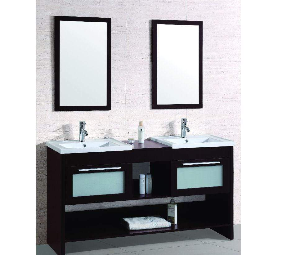 Legion Furniture Double Sink Vanity With Two Mirrors(One Box With Two Mirror)- No Faucet Bathroom Vanities WT9118-R - SaunaTown.com