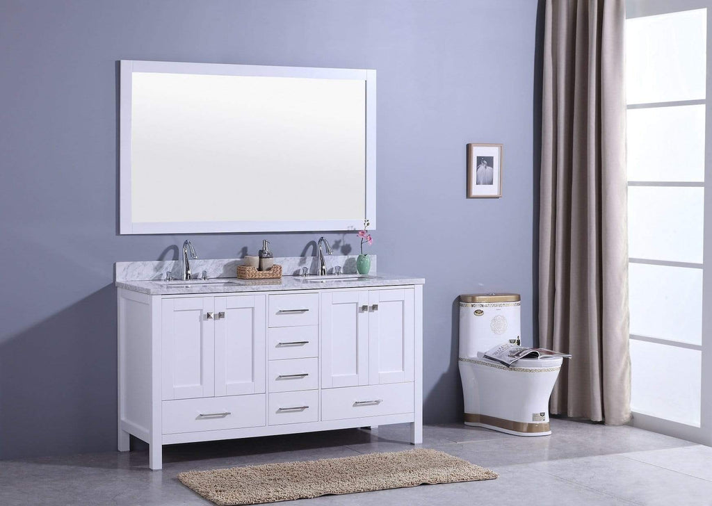 Legion Furniture Sink Vanity with Mirror, Without Faucet Bathroom Vanities WT7260-W - SaunaTown.com