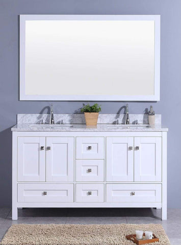 Legion Furniture Sink Vanity with Mirror, Without Faucet Bathroom Vanities WT7360-W - SaunaTown.com