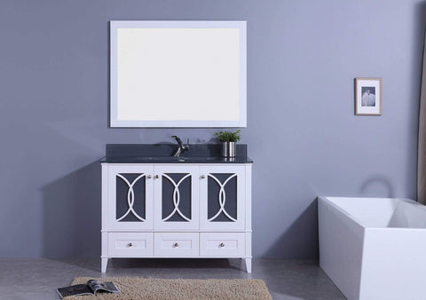 Legion Furniture Sink Vanity with Mirror, Without Faucet Bathroom Vanities WT7448-WT - SaunaTown.com