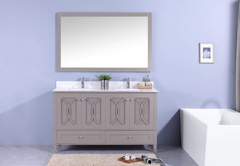Legion Furniture Sink Vanity with Mirror, Without Faucet Bathroom Vanities WT7460-GW - SaunaTown.com