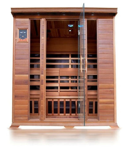 SunRay Cedar Sequioa 4 Person Infrared Sauna HL400K - SaunaTown.com
