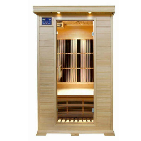 Sunray Evansport Two-Person Infrared Sauna HL200C, Natural Hemlock - SaunaTown.com
